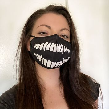 Skeleton Teeth Face Mask in Black
