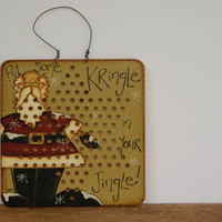 Vintage Chinese Checkers Board ~ Santa Claus Decoration ~ Hand Painted Santa Decoration ~ Put Some Kringle In Your Jingle!