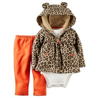 Carter's Print Hooded Cardigan Set - Baby Girl, Size: