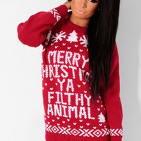Culkin Red & White Knitted Christmas Print Jumper   Pink Boutique