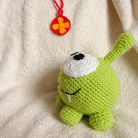 """Cute, Green OM NOM, Toy from Popular Game """"Cut the Rope"""", Crochet  Amigurumi Toy"""