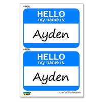 Ayden Hello My Name Is - Sheet of 2 Stickers