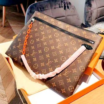 LV 2019 new classic old flower vintage canvas casual fashion clutch