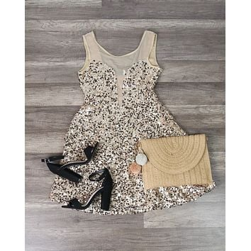 Midnight Rendezvous Gold Sequin Darling Party Dress in Gold