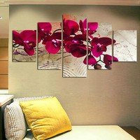 5 Pieces Canvas Print Wall Paintings for Home Flower Red Moth Orchid Wall Art Picture Modern Modular Picture Unframed FA498