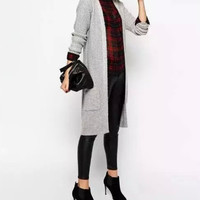 No Button Long-Sleeve Knitted Pocket Coat