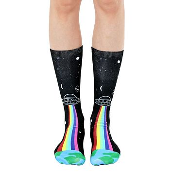 Alien Abduction Crew Socks