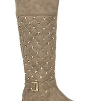 Tall Quilted Riding Boot with Studs and Buckle Strap