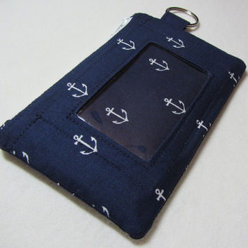 Keychain Wallet with ID Pocket and Split Ring in Navy Fabric with Mini Anchors in White