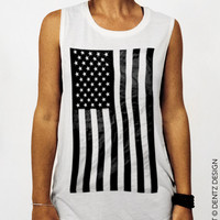 American Flag - White - Muscle Tee Tank T-shirt