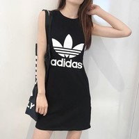 """Adidas"" Women Casual Simple Fashion Letter Logo Print Sleeveless Vest Show Thin Bodycon Mini Dress"