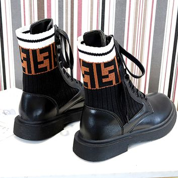 Fendi 2019 new double F letter knit wool boots stitching strap locomotive high help Martin boots shoes