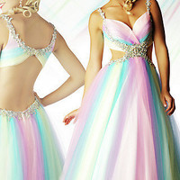 Prom Dresses, Celebrity Dresses, Sexy Evening Gowns at PromGirl: Multi Pastel Colored Ball Gown