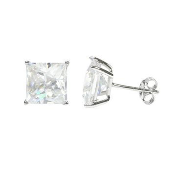 Sterling Silver Square Cubic Zirconia Stud Earrings AAA Clear CZ Basket Setting