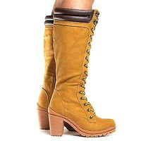 Hanson3 By Liliana, Knee High Lace Up Padded Ankle Collar Lug Sole High Heel Boots