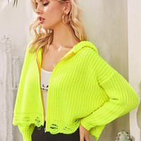 Neon Lime Zipper Front Ripped Hem Cardigan