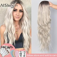 AISI BEAUTY Long Wavy Wig Natural Part Side Hair Ombre Synthetic Platinum Blonde Black Wigs Heat Resistant