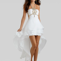 Halter Ruched And Beaded Top Formal Prom Dress Clarisse 2313
