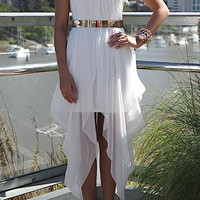 White Sleeveless Chiffon Summer Dress