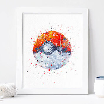 Poké Ball, Pokemon, pokeball watercolor nursery Art Print, Home Wall decor, Watercolor kids poster pokemon ball art Pocket Monsters Poster