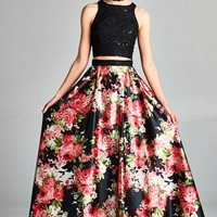 TWO PIECE LACE V-NECK A LINE FLORAL PROM FORMAL DRESS WITH POCKET DETAILS