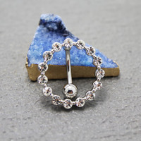 Round Silver Belly Ring-Diamond navel ring