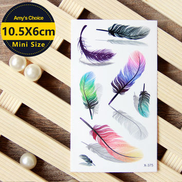 Waterproof Temporary Tattoo Sticker on body art 3D color feather tattoo Water Transfer fake tattoo flash tattoo for girl women