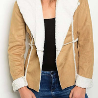 Fleece Lined Vegan Suede Jacket - Camel