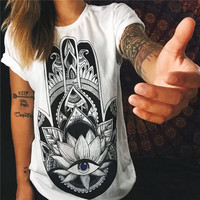 European Style Summer T shirt Women 2016 Hamsa Hand 3D Print T-shirt Fashion Graphic Tees Women Designer Clothing