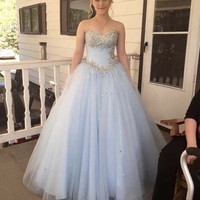 Sweetheart neck light blue tulle sequin long prom gown, evening dress