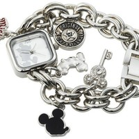 Disney Women's MK2057 Mickey Mouse Silver Sunray Dial Charm Bracelet Watch