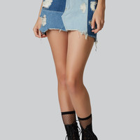 On The Right Patch Denim Skirt