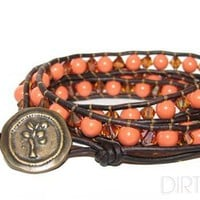Swarovski Coral Pearl and Copper Crystal Wrap Bracelet on Antique Brown Leather