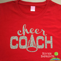 CHEER COACH, glittery semi-fitted sparkle tee shirt, choose from 3 shirt styles