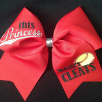 Softball Bow - This Princess Wears Cleats - Softball Accessory - Team Bows - Cheer Bow for Softball - Custom Team Softball Bow