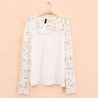 Lace Sleeve Chiffon Hollow Out Tops