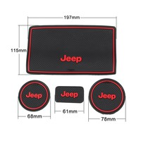 Anti-dust Non-slip Interior door Cup Holder Mats Mat For Jeep Wrangler JK 2008-2016 (Red)