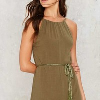 Tie and Bye Low Back Romper - Olive