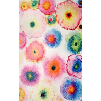 nuLoom Abstract Blossoms Lilla Shaggy Area Rug