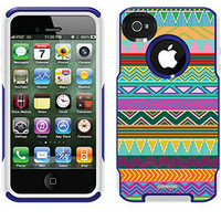 """""""Tribal Green"""" Tribal Prints design on OtterBox® Commuter Series® Case for iPhone 4 / 4S in Blue"""