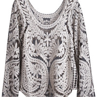 ROMWE   Hollow Golden-grey Lace Blouse, The Latest Street Fashion