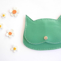 "jade green faux Laether  Cat coin purse, little  pouch:""The cat in a daisies field"""