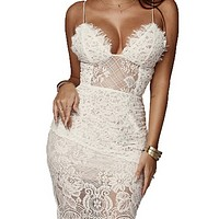 Women's hot style hot sale sexy bag hip lace sling dress