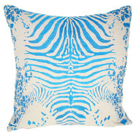 Design Accents KSS-0129-TIGER TURQUOISE Tiger Turquoise Cotton Linen 20 x 20 Decorative Pillow