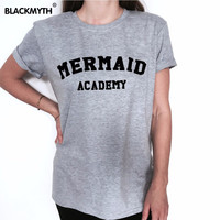 Fashion Summer Style Tee Shirts MERMAID ACADEMY Letter Print Short Sleeves T Shirt Women Casual Tops Black White