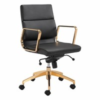 Scientist Low Back Office Chair Black & Gold