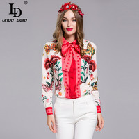 High Quality Plus size Blouse Women's Long sleeve Bow collar Charming Floral Print Shirt Fashion Casual Top
