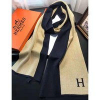 Hermes fashionable and popular matching color patchwork simple wool patchwork scarf