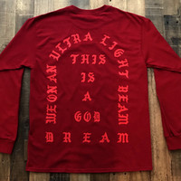 BLACK FRIDAY SALE I Feel Like Pablo Cardinal Red Long Sleeve Tee Shirt Kanye West Yeezy Tlop Tour
