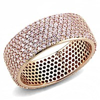14K Rose Gold .88TCW Russian Lab Diamond Wedding Band Full Eternity Band Ring